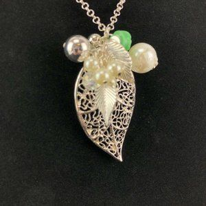 """Mudd Necklace Long 32"""" - 35"""" Silver-tone Leaves"""